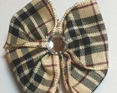 Blackberry Plaid Classic Dog Grooming Hair Bow with Clear Rhinestone Center
