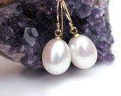 14k Gold Pearl Earrings | Large White Freshwater Teardrop Pearls | 14K Solid Yellow Gold Dangles | June Birthstone | Gift Ready to Ship