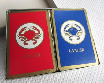 Vintage Cancer Crab Horoscope Playing Cards Red and Blue Decks