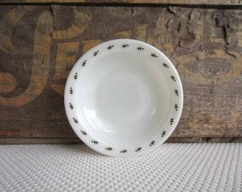 Vintage Pyrex White Glass Berry Bowl Double Tough Leaf Design