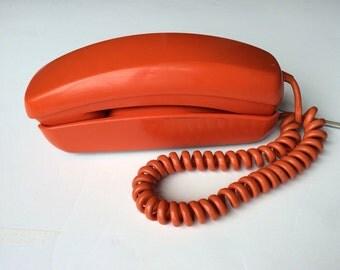 Vintage Bright Orange ITT Trimline Telephone