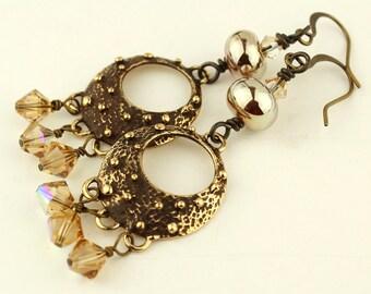 Lampwork Earrings Antique Brass Bronze Iridescent  Beaded Jewelry  'Bellissima'