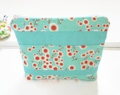 Water Resistant Makeup Bag, Zipper Pouch in Aqua and Red, Wet Bag, Travel Bag
