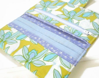 Floral Clutch Wallet, Womens Bifold Wallet, Handmade Fabric Wallet, Mustard and Blues