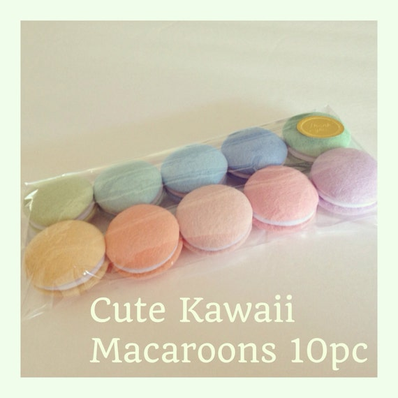 ETSY  Pretend food - Play food -  Felt food Tokyo Kawaii Sweets Macaroons Spring colors (10pc)