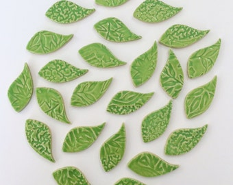 25 Mosaic LIME LEAF Tiles - High Fired