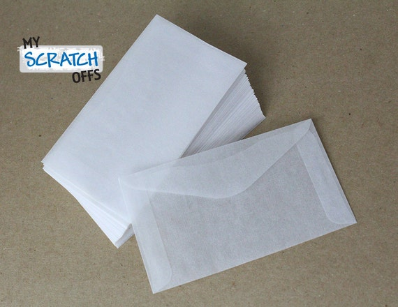 "Mini Envelopes 50 Wedding Favors Lottery Ticket Glassine Envelopes 2.5 x 4.25"" Lotto Scratch Off Card"