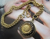 Bronze And Gold Elegant Glass Sunflower Necklace