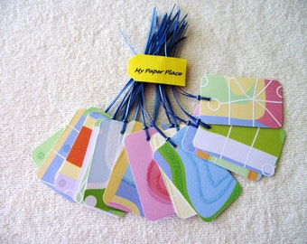 12 - MULTICOLORED WEDDING/GIFT Tags- Escort Cards - Geometric Pattern- 3.50  Flat Rate Shipping