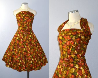 ON HOLD / Not for Sale / Russet Seashells dress / vintage 1960s dress / 60s cotton wrap dress / novelty print