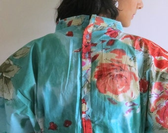 Front & Back Buttoned Hospital Gown Delivery Kaftan Teal Perfect as labor, delivery gown, nursing gown, to be moms, Baby shower, photo props