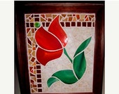 SUMMER SALE Mosaic Red Tulip Picture