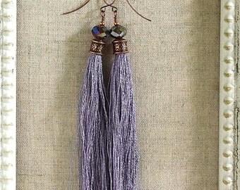 Bohemian Fringe Earrings in Lavender