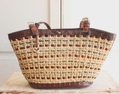 woven leather sisal Brighton bag tote with alligator handles