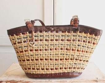 Brighton basket bag woven leather & sisal tote with alligator handles