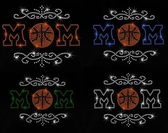 "9.2"" Basketball mom iron on rhinestone transfer applique patch your color choice"