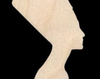 Queen Nefertiti Shape Natural Craft Wood Cutout 1738