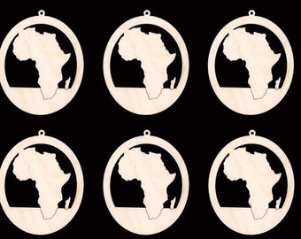 Africa Continent in OVAL Ornament Craft Wood Cutout 168