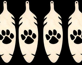 Tiger Print in Feather  Natural Craft Wood Cutout 225