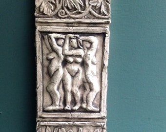 Three Graces Ceramic Pottery Relief Sculpture Tile