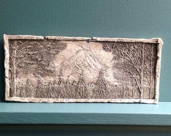 Mout Rainier Ceramic Porcelain Relief Pottery Tile