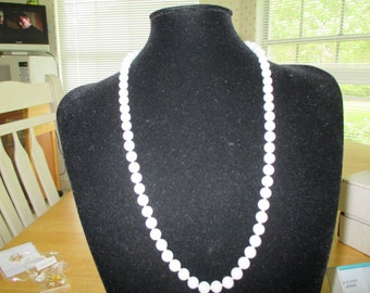 VINTAGE COSTUME JEWELRY  / Marvella milk glass necklace just reduced 3.00 off now 13.00
