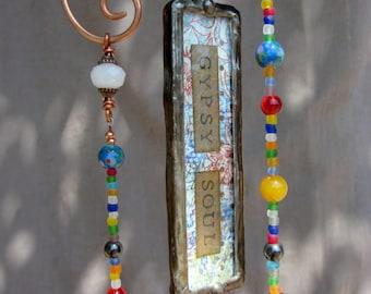 Wanderlust Glass Beaded Hanging Sun Catcher Mobile Windchime