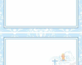 First Communion - Baptism Placecard - Customizable - Holy Communion - Boy