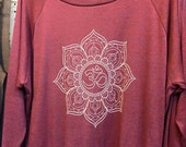 "OM symbol Lotus Flower Art Print Slouchy ""Sweatshirt"" American Apparel  Cranberry   S M  or L"