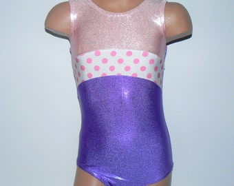 Gymnastics Leotard with Polka Dots Inset. Dance Leotard. Dancewear. Toddlers Leotard. Girls Leotard.  SIZES 2T - Girls 10