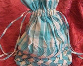 Vintage Handmade Tote Bag Purse Drawstring Blue White Gingham