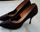 """Vintage 1960's AS Beck """"Cameo Room"""" Black Pointed Toe Heel with Elegant Designed Trim~ Woman 6.5"""