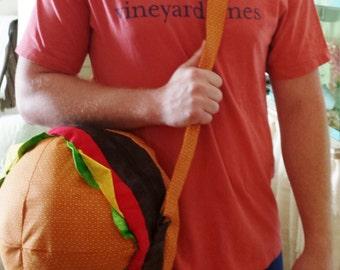 Cheeseburger Messenger Bag- MADE TO ORDER only- Stuffed Cheeseburger Shoulder Bag with adjustable strap