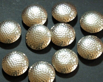 Vintage Buttons, Hammered Metal, 10 loose Buttons, Silver Tone