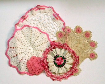 Collection of Five Crochet Doilies, Pinks
