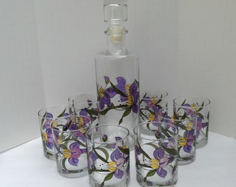 Hand Painted Decanter Set with 8 Matching Glasses