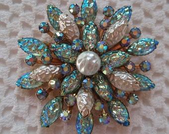 Vintage Signed CATHE Aurora Borealis  Rhinestones  Caribbean Blue Glass PIN Faux Pearls 1960s Ocean Beach