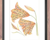 Consider the lilies scripture design print 8x10