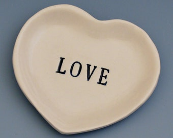 LOVE Heart Shaped Porcelain Ceramic Mini Dish / Small Plate / Rings - Hand Stamped Wedding or Bridal Shower Gift