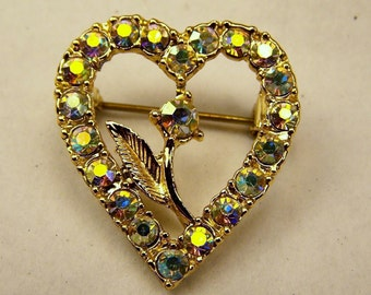 GORGEOUS Vintage Delicate Gold Crystal Aurora Borialis Heart Wreath Pin, Rhinestone Metal Flower Brooch, Wedding Bridal Costume Jewelry