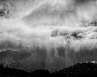 Storm Clouds San Francisco Black and White Photo Marin Headlands Pacific Ocean California Wall Art Home Decor nat144