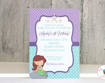 Little Mermaid Inspired Birthday Invitation, DIY, Printable