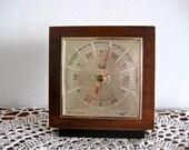 Vintage Taylor Barometer, Teak, G Plan, Eames Era, Gold, Red and Black, Weather, 1960s