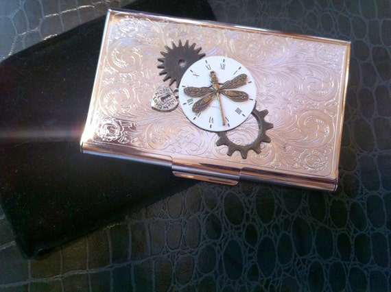 Steampunk business card holder dragonfly moon time laurijontm for Steampunk business card holder