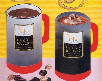 Art Print Giclee, Coffee Cups, Kitchen ARt, by Sandra Corey, FREE DOMESTIC SHIPPING.