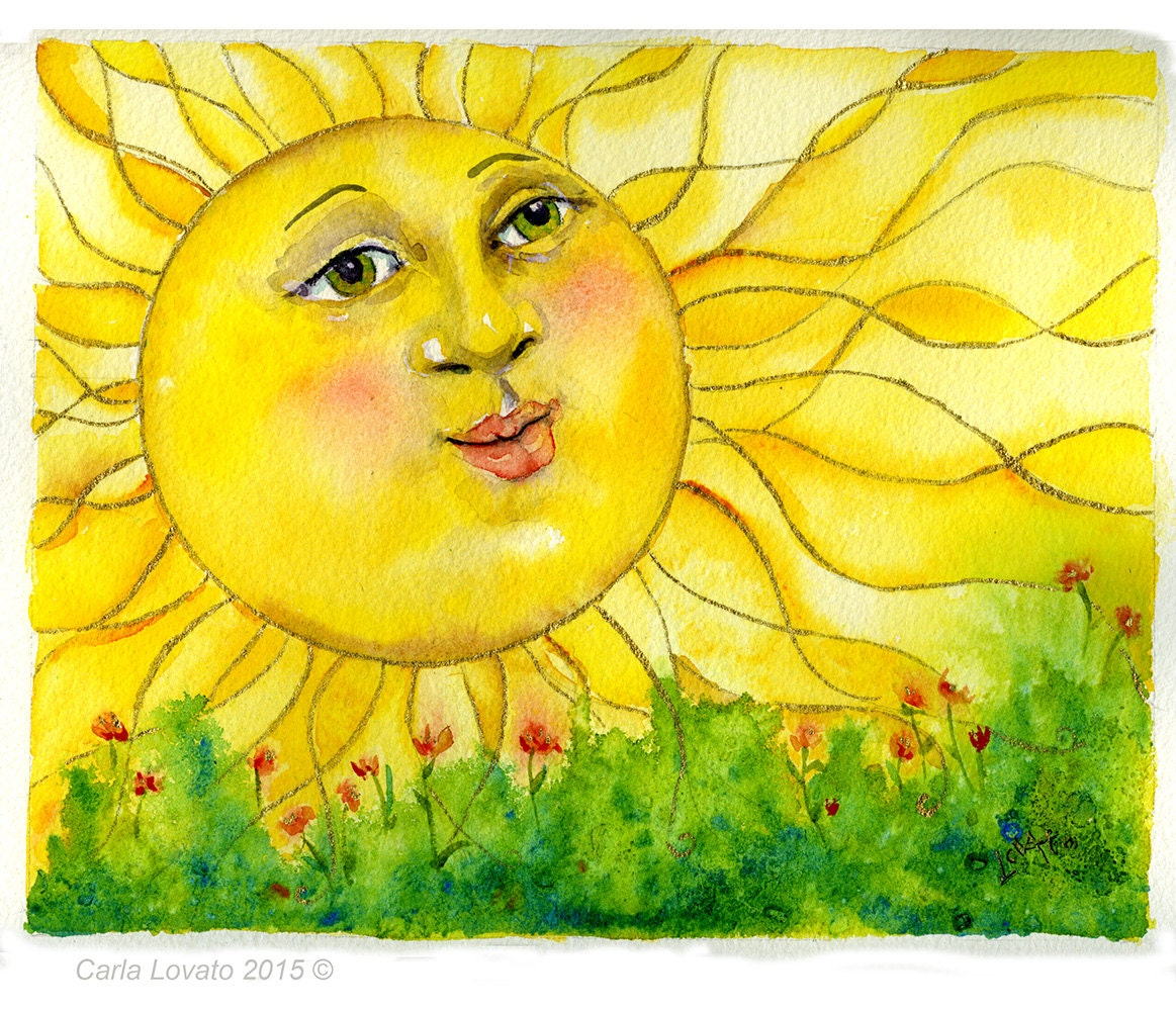 Watercolor Painting Sun Face Original Painting By Carlalovato