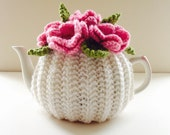 Pink Roses - Floral Tea Cosy in Pure Wool - Ivory & Pink - Size Medium - fits 4-6 cup teapots