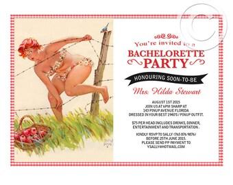 Printable hilda pinup bachelorette or lingerie shower party invitation DIGITAL customize