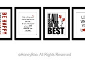 Set of 4 posters, positive quotes, typography quote, art prints, black red, live what you love, inspiring words, art decor, wall art