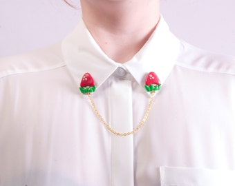 Tiny Red Toad Stool Collar Clips. Mushroom Collar clips. Mario inspired jewellery. Cardigan clips.